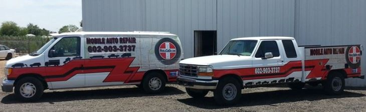 Van and truck wrapped and ready to service.