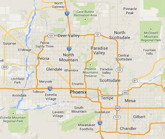 Phoenix Map of our approximate service area.